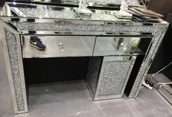 Crush Sparkle Crystal 2 Draw Column Console Table