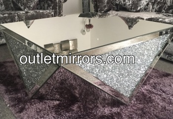 * New Diamond Crush Sparkle Crystal Prism Mirrored Coffee Table in stock