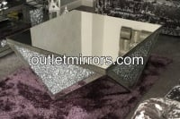 Diamond Crush Sparkle Crystal Prism Mirrored Coffee Table