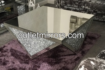 Diamond Crush Crystal Prism Mirrored Coffee Table