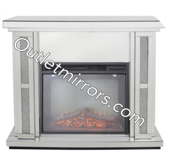 Crush Sparkle Mirrored Fire Surround with electric fire - in stock