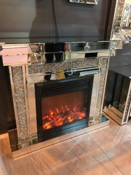 * Diamond Crush Sparkle Mirrored fire surround with electric fire - free delivery - in stock for a fast delivery