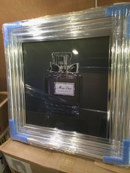 "Chrome Stepped framed Sparkle Glitter Art ""Miss Dior Perfume"" in stock for a quick delivery"