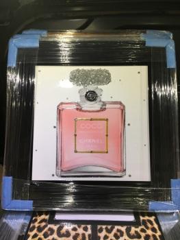 "Black Framed Sparkle Glitter Art ""Chanel Coco Pink Perfume"" black stepped frame"