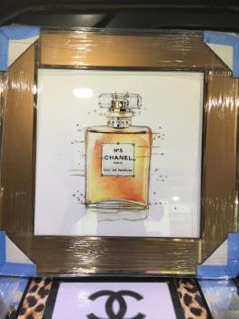 "Mirror framed Sparkle Glitter Art ""Chanel Coco No 5  Perfume"" bronze mirrored matt frame"