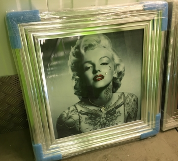 "Silver Framed Art Print ""Monroe Tattoo Glamour "" Sparkle Wall Art  silver stepped frame"