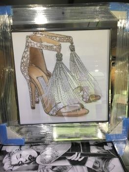 """Glitter Sparkle Jimmy Choo Shoes"" in a mirror  frame"