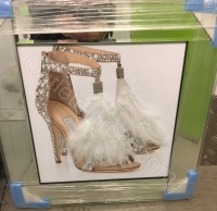 """Glitter Sparkle London Feather Shoe"" in mirror frame"