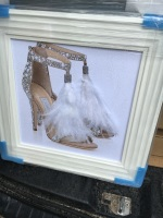 """Glitter Sparkle London Feather Shoe"" in white stepped  frame"