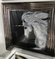 "Mirror framed art print ""Glitter Sparkle Unicorn"" in silver chrome stepped frame"