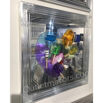 Jake Johnson 3D colourful Lollipops wall art on a Silver mirror with stepped frame