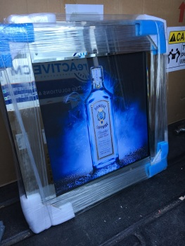 ** Bombay Sapphire Glitter Art Mirrored Frame ** 57cm x 57cm  in stock for a quick delivery