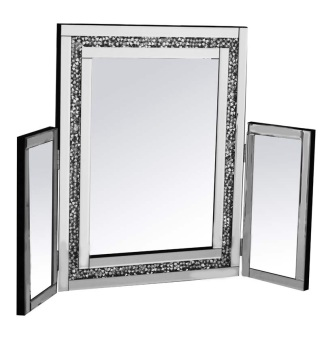 Diamond Crush Sparkle Tri Fold Mirror 78cm x 54cm