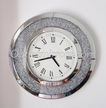 * New Diamond Crush Sparkle Crystal Mirrored Clock round 50cm dia In stock