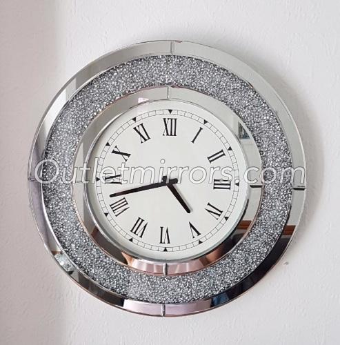 * New Diamond Crush Sparkle Crystal Mirrored Clock round 50cm dia