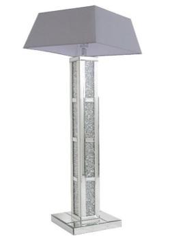 ^New Floor Lit Diamond Crush Crystals Block Mirrored Tall Lamp 30.5cm x 142cm grey shade
