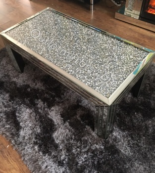 * New Diamond Crush Sparkle Crystal Mirrored Rectangular Coffee Table in stock