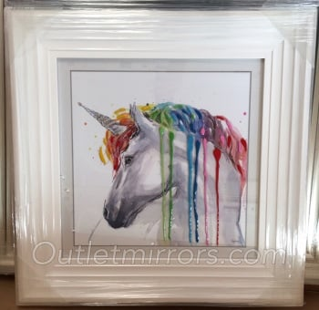 "Mirror framed art print ""Glitter Sparkle colourful Unicorn"" in white stepped frame in stock"