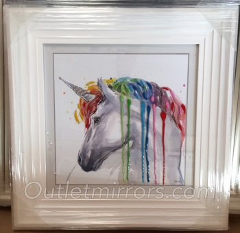 "Mirror framed art print ""Glitter Sparkle colourful Unicorn"" in white stepped frame"