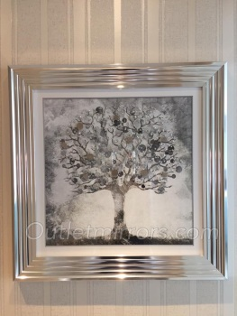 """Mirror framed art print """"Glitter Sparkle Money Tree"""" with real coins in a silver stepped frame"""