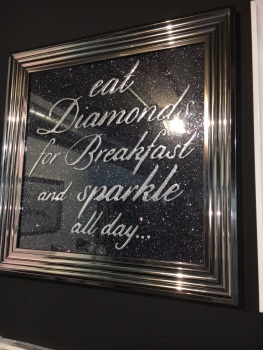 Eat Diamonds for Breakfast & Sparkle All Day on Black Glitter Backing 75cm x 75cm