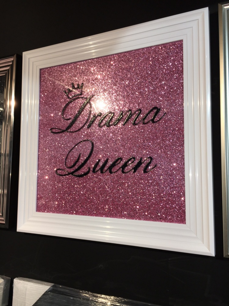 Drama Queen in Black on a Pink glitter Backing 75cm x 75cm white stepped fr