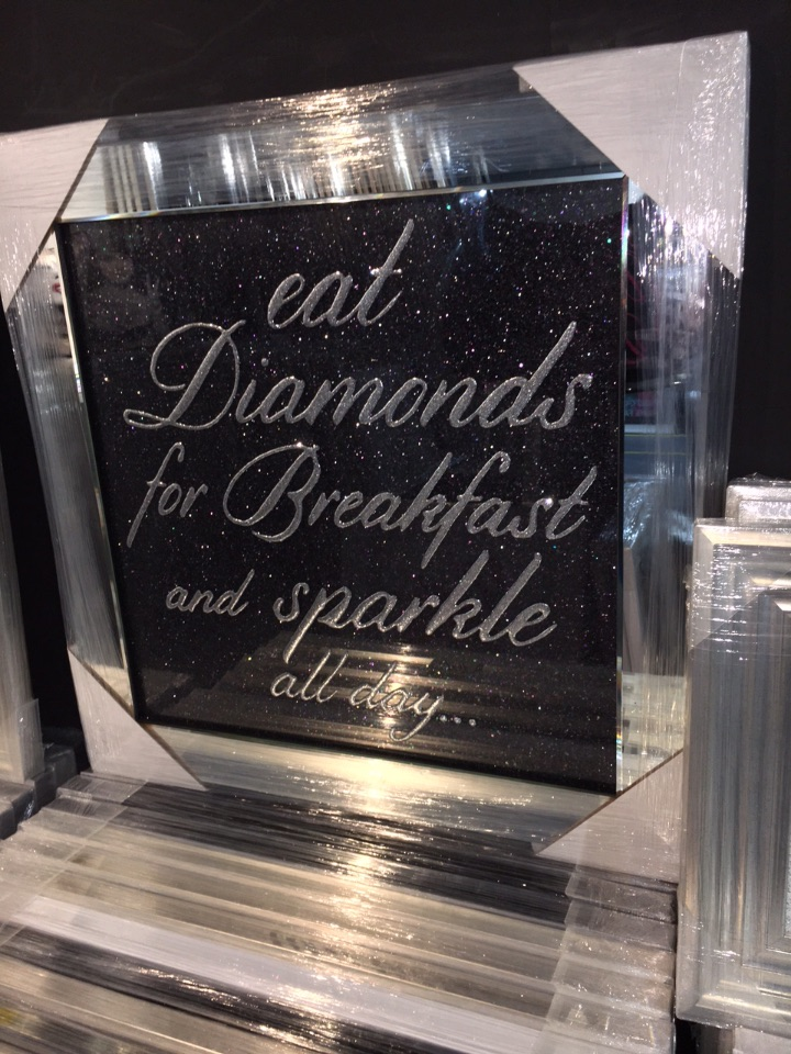 Eat Diamonds for Breakfast & Sparkle All Day on Black Glitter Backing 75cm