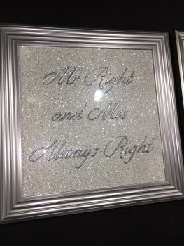 Mr Right & Mrs always Right  Sparkle glitter Art 75cm x 75cm