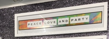 Peace Love & Party Sparkle glitter Art 90cm x 20cm