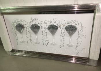 Jake Johnson 3D Champagne Cups wall art on a white gloss background with stepped frame