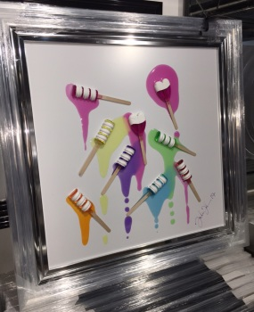 Jake Johnson 3D colourful Ice Pops wall art on a white gloss background with stepped frame