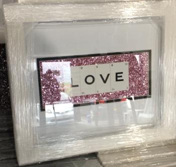 Love pink  Sparkle glitter Art 30cm x 25cm
