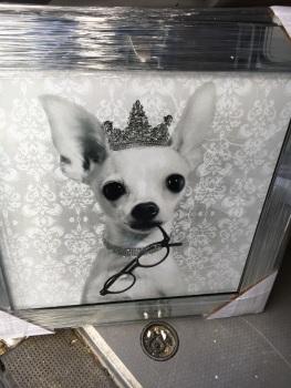 "Mirror framed Sparkle Glitter Art ""Chihuahua Dog"""