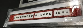 Super Hero Sleeps Here Sparkle glitter Art 90cm x 20cm