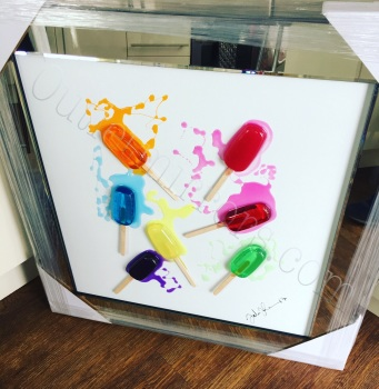 Jake Johnson 3D colourful Lollipops wall art on a white gloss background  in a mirrored frame