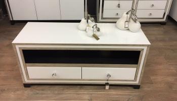 luxury Modern  Silver & White Mirrored Tv Base Unit