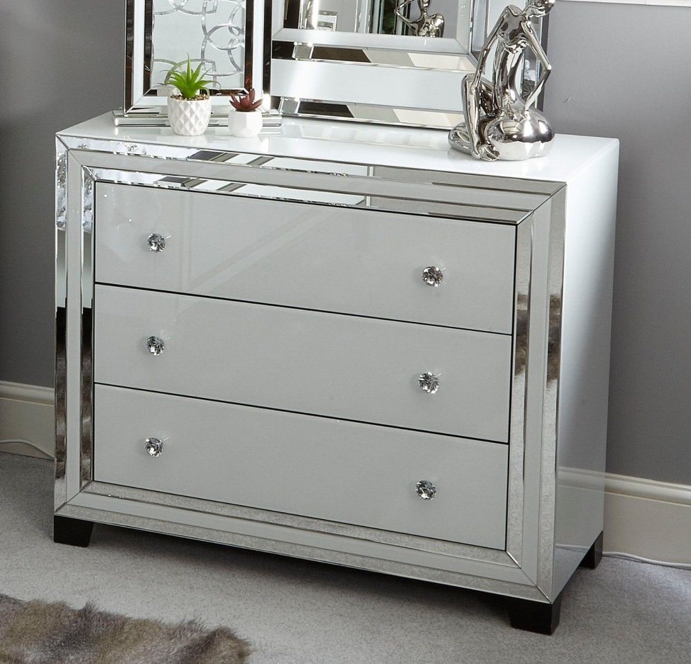 White Mirrored 3 Draw Large chest
