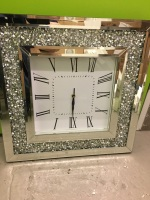* New Diamond Crush Sparkle large crystal Mirrored Clock 50cm x 50cm In stock