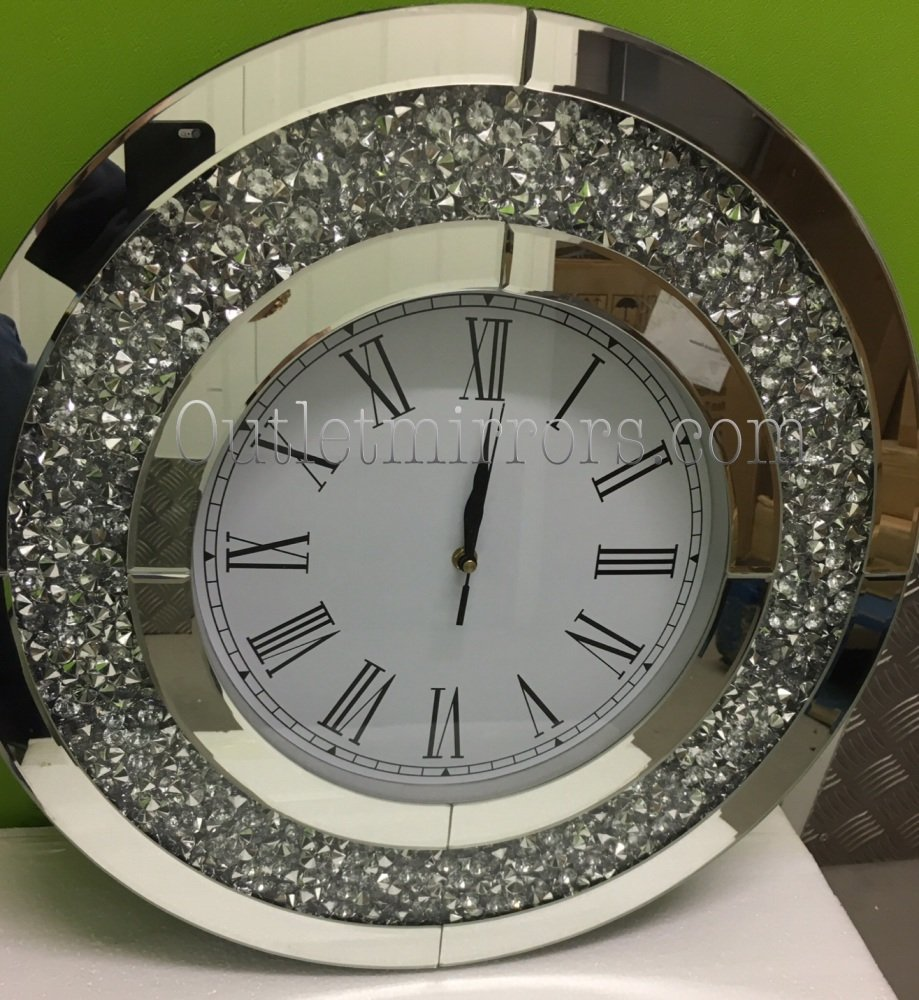 * New Diamond Crush Sparkle large Crystal Mirrored Clock round 50cm dia