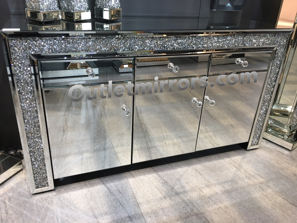 Diamond Crush Sparkle Crystal Mirrored 3 Draw 3 Door