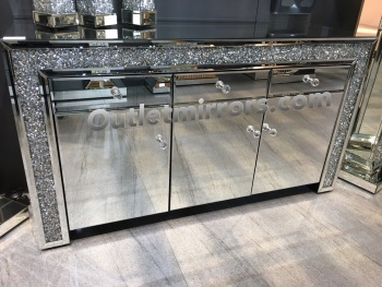 *Diamond Crush Sparkle Crystal Mirrored 3 draw 3 Door Sideboard with crystal handles  - item in stock