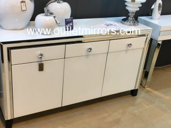 White Mirrored 3 Draw Sideboard