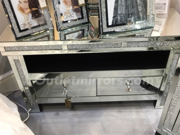 * New Diamond Crush Crystal Sparkle Mirrored Corner TV Entertainment - Unit low item in stock