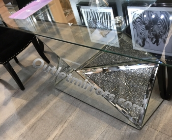 "* Diamond Crush Sparkle Mirrored Dining Table ""Multi Faceted"" In stock"