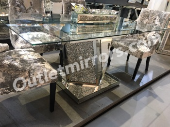 "* Diamond Crush Sparkle Mirrored  Dining Table ""Azuri"" pre order now"