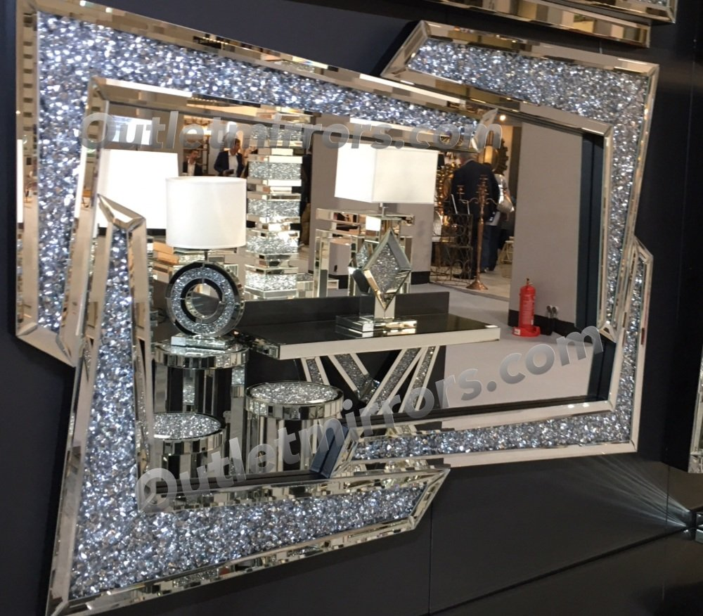 New Diamond Crush Sparkle Angles Wall Mirror 120cm X