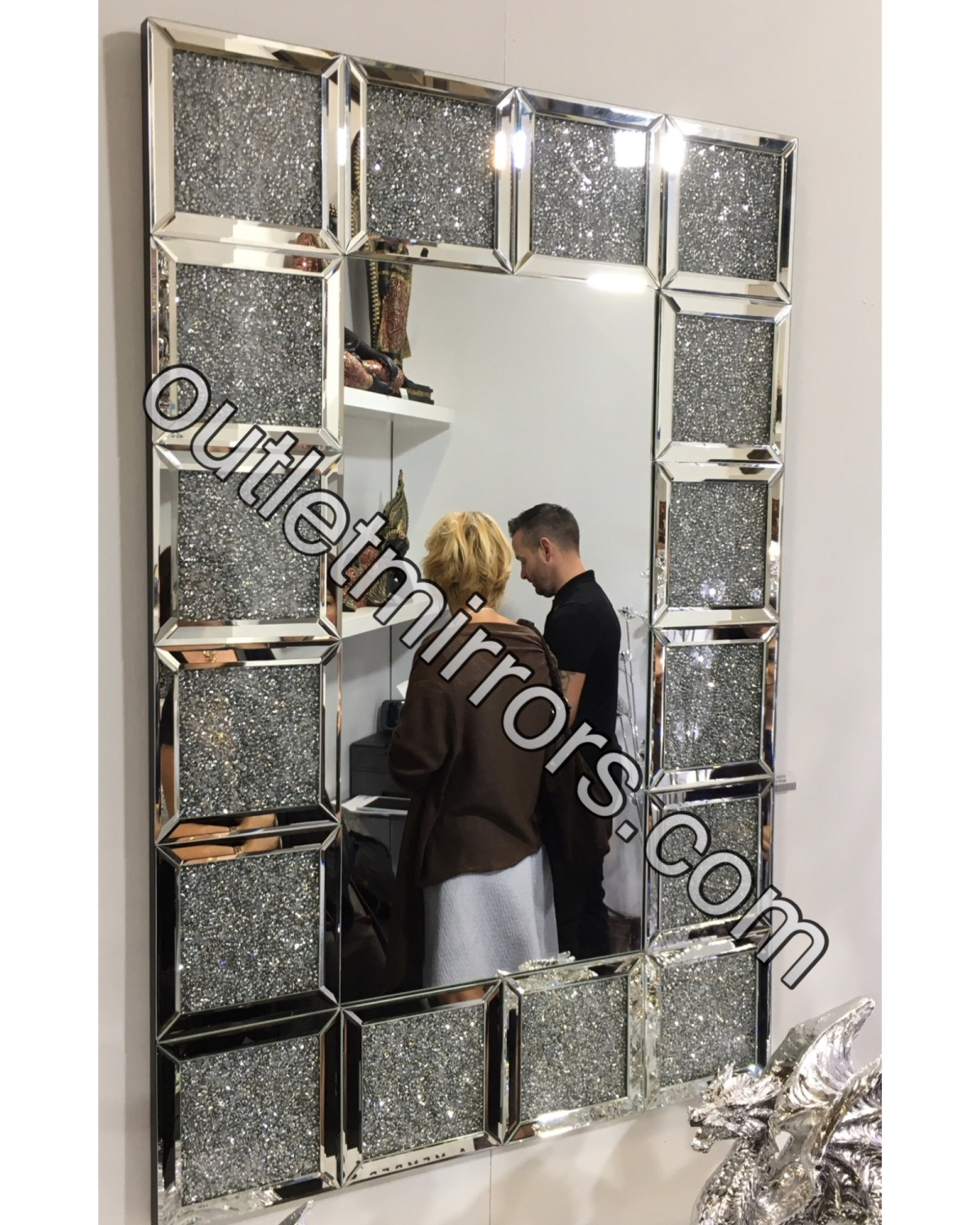 New diamond crush sparkle crystal blocks wall mirror for Mirror 120 x 80