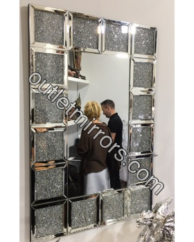 * New Diamond Crush Sparkle Crystal Blocks Wall Mirror 120cm x 80cm item in stock
