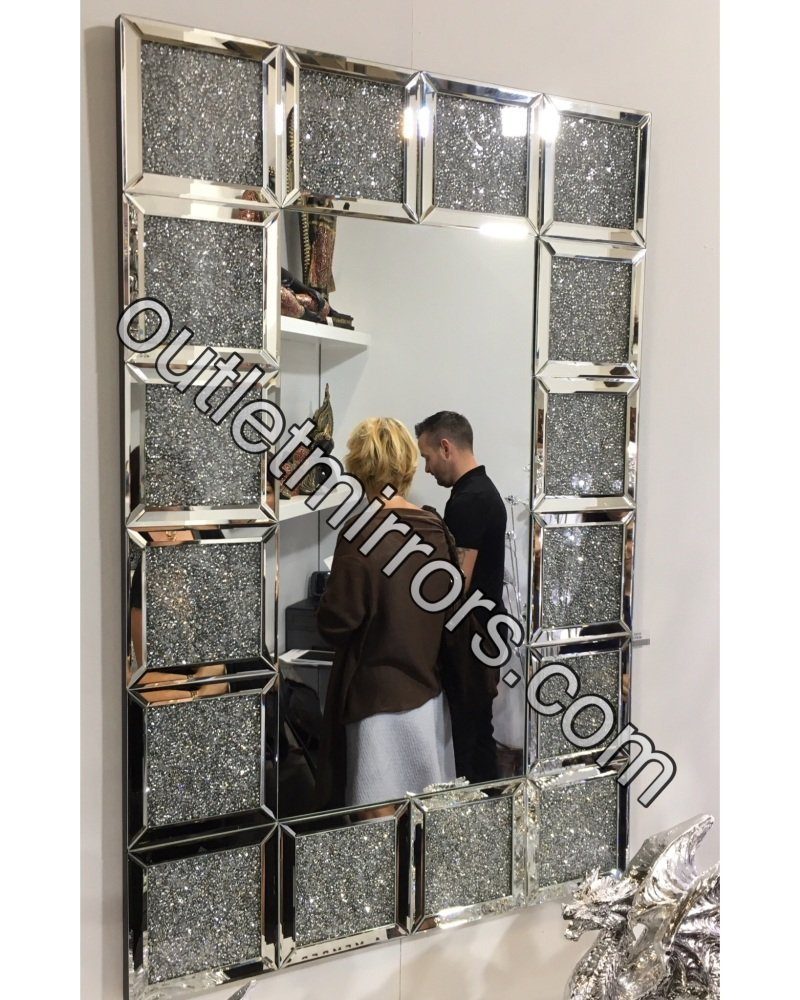 * New Diamond Crush Sparkle Crystal Blocks Wall Mirror 120cm x 80cm
