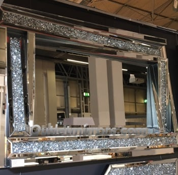 * New Diamond Crush Sparkle 3d twist frame Wall Mirror 120cm x 80cm in stock